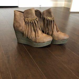 Sbicca fringe boot wedges
